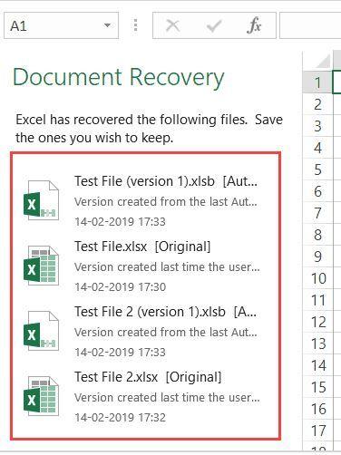 بازیابی فایل اکسل ذخیره نشده