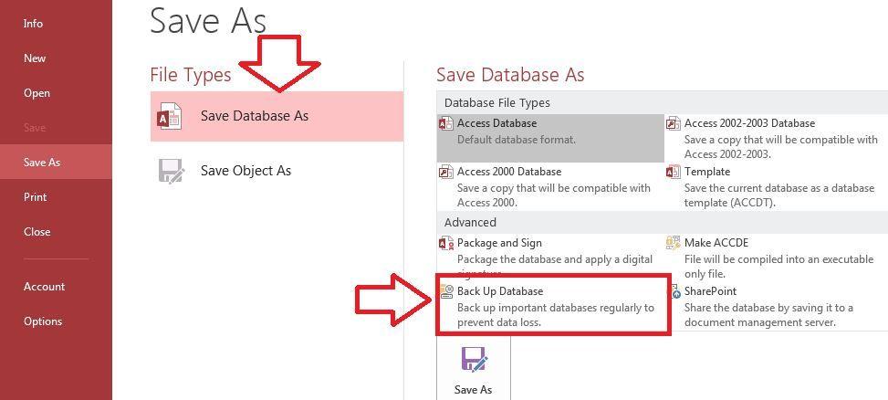 بررسی تمام روش های  بک آپ گیری فایل های اکسس